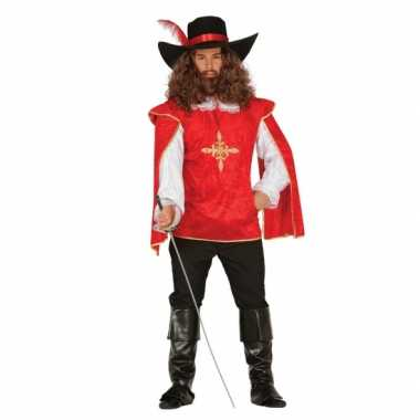 Musketiers carnavalskleding heren rood online