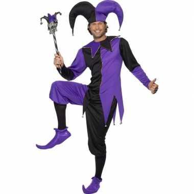 Narren carnavalskleding zwart/paars heren online