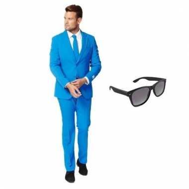 Scarnavalskleding blauw heren pak (m) gratis zonnebril online