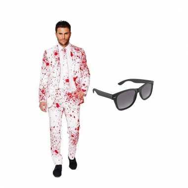 Scarnavalskleding bloedspatten heren pak (xxxxl) gratis zonnebril on