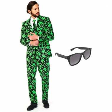 Scarnavalskleding cannabis print heren pak (xxl) gratis zonnebril on