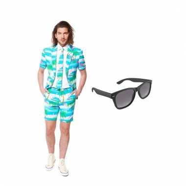 Scarnavalskleding flamingo zomer heren pak (m) gratis zonnebril onli