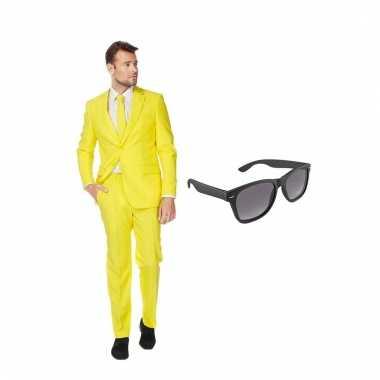 Scarnavalskleding geel heren pak (m) gratis zonnebril online