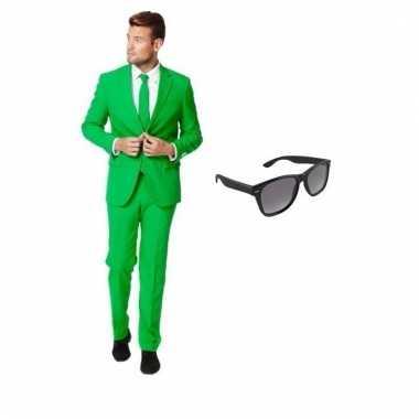 Scarnavalskleding groen heren pak (m) gratis zonnebril online