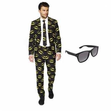 Scarnavalskleding heren batman print pak (xl) gratis zonnebril onlin