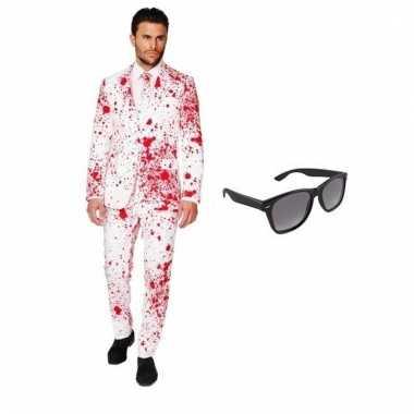 Scarnavalskleding heren bloed print pak l gratis zonnebril online