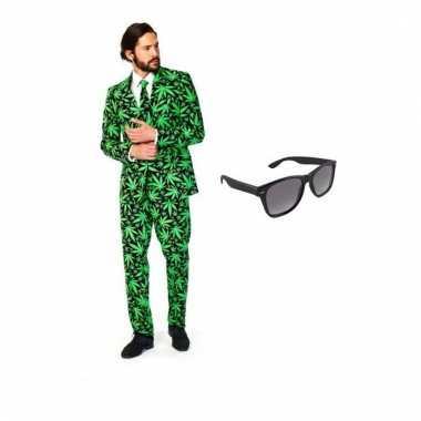Scarnavalskleding heren cannabis print pak (l) gratis zonnebril onli