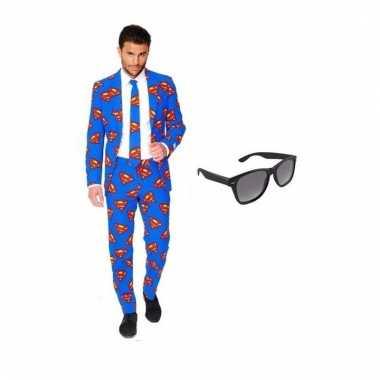 Scarnavalskleding heren superman print pak (l) gratis zonnebril onli