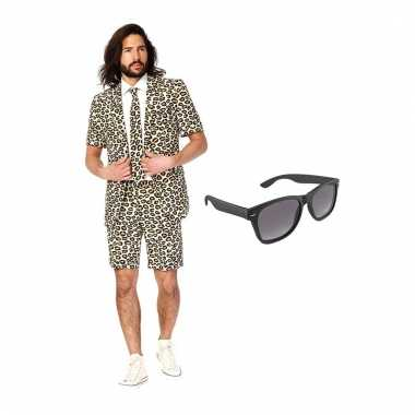 Scarnavalskleding luipaard print heren pak (m) gratis zonnebril onli