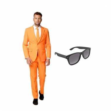Scarnavalskleding oranje heren pak (l) gratis zonnebril online