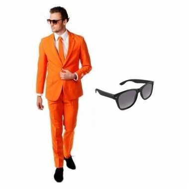 Scarnavalskleding oranje heren pak (m) gratis zonnebril online