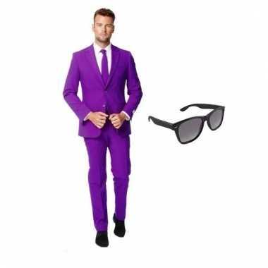 Scarnavalskleding paars heren pak (s) gratis zonnebril online