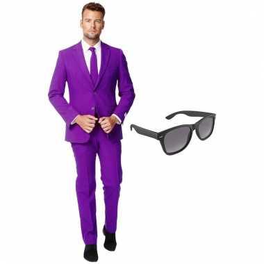 Scarnavalskleding paars heren pak (xxl) gratis zonnebril online