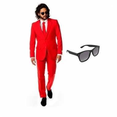 Scarnavalskleding rood heren pak (s) gratis zonnebril online