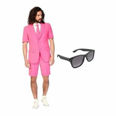 Scarnavalskleding roze heren pak (m) gratis zonnebril online