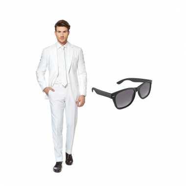 Scarnavalskleding wit heren pak (m) gratis zonnebril online