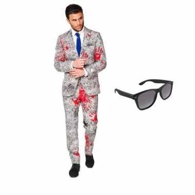 Scarnavalskleding zombie heren pak (m) gratis zonnebril online