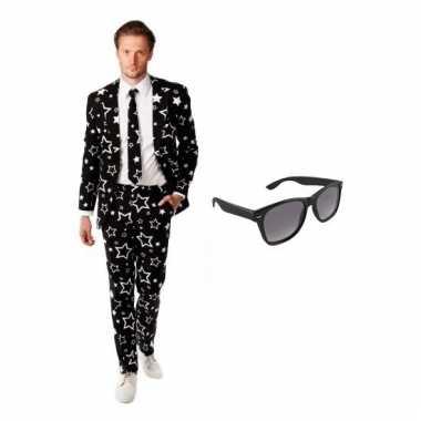 Scarnavalskleding zwart heren pak (m) gratis zonnebril online