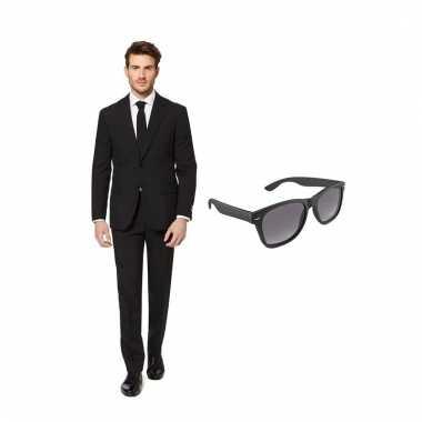Scarnavalskleding zwart heren pak (s) gratis zonnebril online