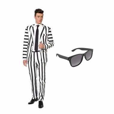 Scarnavalskleding zwart witte strepen print heren pak m gratis zonnebril online