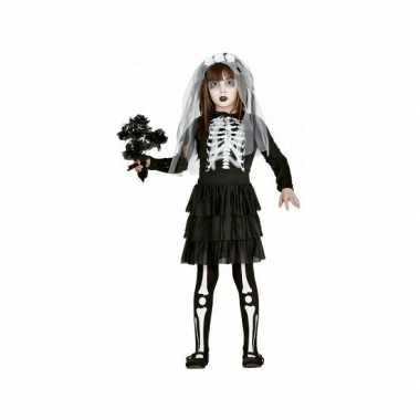 Skelet bruid meisjes carnavalskleding zwart wit online