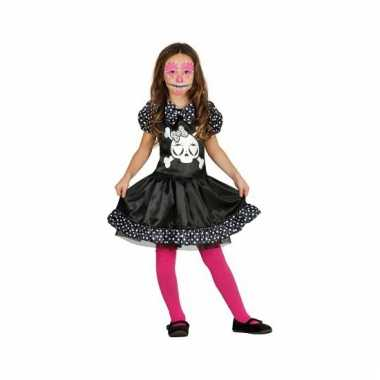 Skelet meisjes carnavalskleding zwart wit stippen online