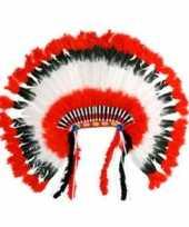 Carnavalskleding luxe indianentooi rood wit zwart online
